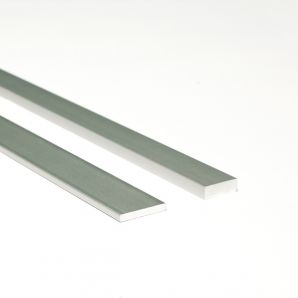 Aluminium decor flat bar profile, finish: matt alu elox